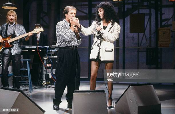 Musical guests Sonny Bono Cher of Sonny Cher perform on November 13 1987