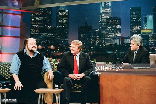 Actor Dom DeLuise and TV personality/investor Donald Trump during an interview with host Jay Leno on November 19 1997