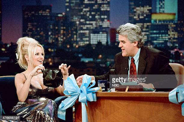 Actress Pamela Anderson during an interview with host Jay Leno on November 21 1997