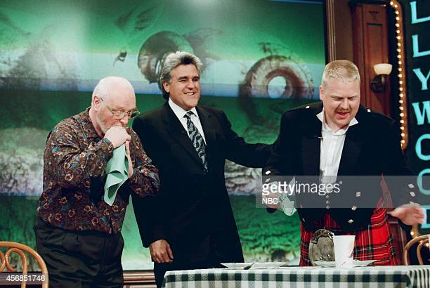 Haggiseating champion Barry Noble host Jay Leno and Shaun Noble on November 25 1997