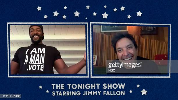 FALLON Episode 1277E Pictured in this screengrab Actor Anthony Mackie during an interview with host Jimmy Fallon on June 11 2020