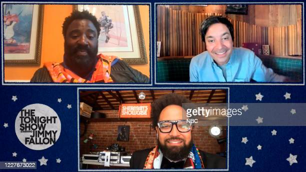 FALLON Episode 1279E Pictured in this screengrab Comedians Bashir Salahuddin and Diallo Riddle during an interview with host Jimmy Fallon on June 15...