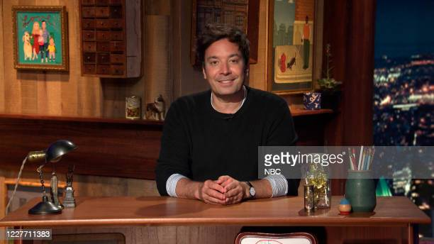 FALLON Episode 1288A Pictured in this screengrab Host Jimmy Fallon arrives to his desk on July 13 2020