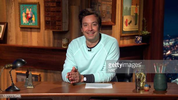 FALLON Episode 1292A Pictured in this screengrab Host Jimmy Fallon arrives at his desk on July 20 2020