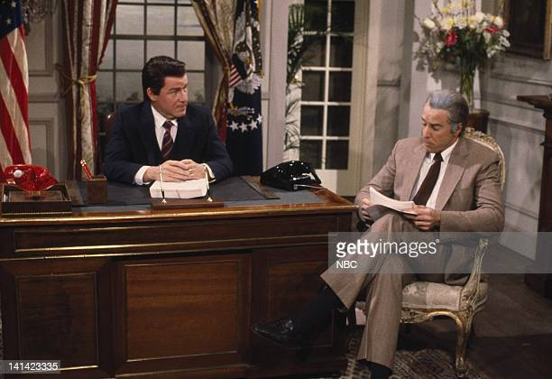 LIVE Episode 13 Air Date Pictured Phil Hartman as Ronald Reagan Kevin Nealn as Don Regan during RaganRegan Affair skit Photo by Al Levine/NBCU Photo...