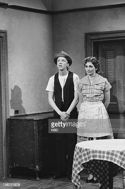 LIVE Episode 13 Air Date Pictured Anthony Michael Hall as Ed Nora Dunn as Alice during 'The Honeymooners The Lost Episodes' sketch on March 22 1986