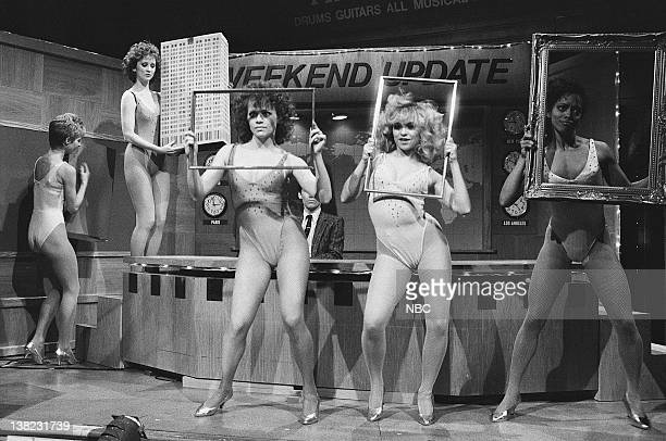 LIVE Episode 13 Air Date Pictured Dancers during 'Weekend Update' sketch on March 22 1986