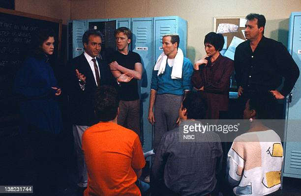 LIVE Episode 13 Air Date Pictured Joan Cusack Lorne Michaels Anthony Michael Hall Terry Sweeney Nora Dunn Randy Quaid during 'Tonight's Director'...