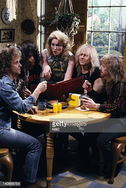 LIVE Episode 13 Aired Pictured Joey Kramer Joe Perry Nora Dunn as Mrs Campbell Brad Whitford Tom Hamilton during the Wayne's World skit on February...