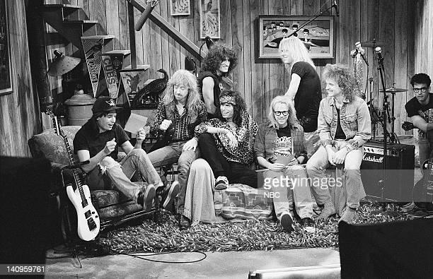 LIVE Episode 13 Aired Pictured Mike Myers as Wayne Campbell Tom Hamilton Joe Perry Steven Tyler Dana Carvey as Garth Algar Brad Whitford Joey Kramer...