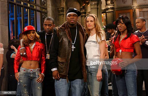 LIVE Episode 13 Aired Pictured Musical guest 50 cent Hilary Swank onstage