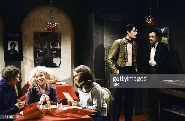 Ann Risley as patron Denny Dillion as patron Gail Matthius as patron Charles Rocket as Joey Ray Sharkey as Vinnie during 'The WaiterMaker' skit on...