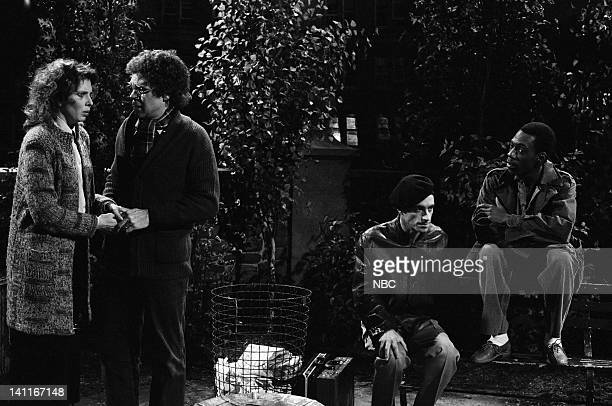 Ann Risley as wife Joe Piscopo as husband Ray Sharkey as salesman Eddie Murphy as salesman during the 'White Babies' skit on April 11 1981 Photo by...
