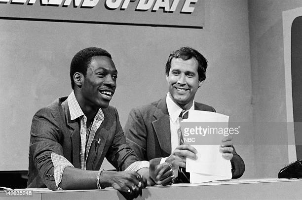 Eddie Murphy as Raheem Abdul Muhammed Chevy Chase during 'Weekend Update' on April 11 1981