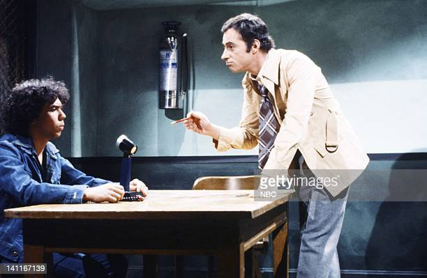 Gilbert Gottfried as Vic Lazlo Ray Sharkey as interrogator during the 'Filmed Confession' skit on April 11 1981 Photo by Fred Hermansky/NBC/NBCU...