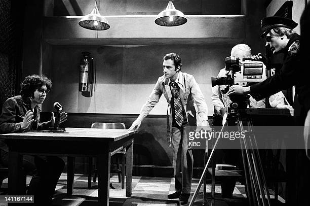 Gilbert Gottfried as Vic Lazlo Ray Sharkey as interrogator Andy Murphy as technician during the 'Filmed Confession' skit on April 11 1981 Photo by...