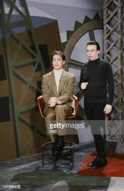 Jason Priestley as Wolfie Schreiber Mike Myers as Dieter during Love Werks skit on February 15 1992 Photo by Al Levine/NBCU Photo Bank