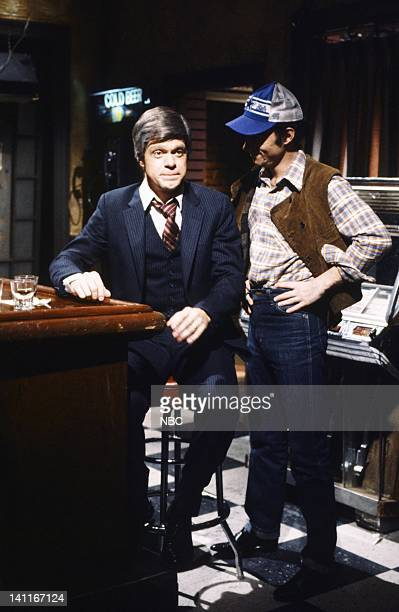 Joe Piscopo as Jimmy Carter Ray Sharkey as Mike during the 'Bar' skit on April 11 1981 Photo by Fred Hermansky/NBC/NBCU Photo Bank