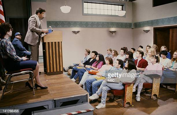 Kevin Nealon as Superintendent Collier Dana Carvey as Dylan Victoria Jackson as Kelly Jason Priestley as Brandon during Beverly Hills 90210 skit on...