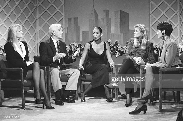 Kim Alexis Leslie Nielsen as Herb LaCrue Beverly Johnson Cheryl Tiegs Nora Dunn as Pat Stevens during the 'The Pat Stevens Show' skit on February 18...