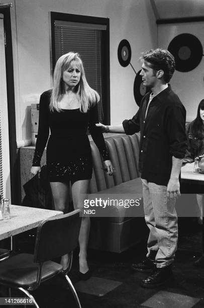 Melanie Hutsell as Donna Jason Priestley as Brandon during 'Beverly Hills 90210' skit on February 15 1992 Photo by Al Levine/NBCU Photo Bank