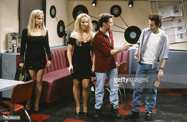 Melanie Hutsell as Donna Victoria Jackson as Kelly Jason Priestleyas Brandon Dana Carvey as Dylan during Beverly Hills 90210 skit on February 15 1992...