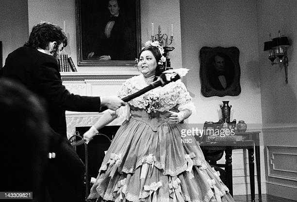 Phil Hartman as Abraham Lincoln Roseanne Barr as Mary Todd Lincoln during A Presidents' Day Remembrance skit on February 16 1991