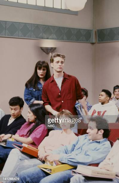 Victoria Jackson as Kelly Jason Priestley as Brandon during Beverly Hills 90210 skit on February 15 1992 Photo by Al Levine/NBCU Photo Bank