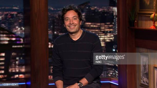 Episode 1302A -- Pictured in this screengrab: Host Jimmy Fallon during the monologue on August 5, 2020 --