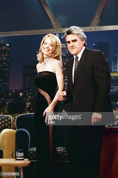 LENO Episode 1314 Air Date Pictured Actress Jeri Ryan with host Jay Leno on February 5 1998 Photo by Margaret C Norton/NBCU Photo Bank
