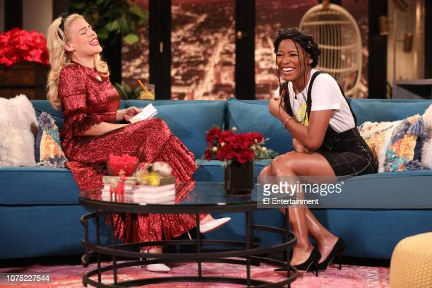 Host Busy Philipps and Keke Palmer on the set of Busy Tonight