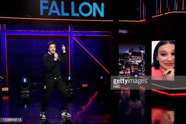 """Episode 1330A -- Pictured: Host Jimmy Fallon and actress Millie Bobby Brown during """"Lip Sync Battle"""" on October 2, 2020 --"""