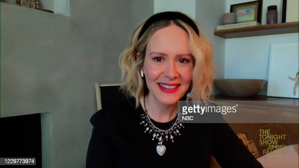 Episode 1358A -- Pictured in this screengrab: Actress Sarah Paulson during an interview on November 19, 2020 --
