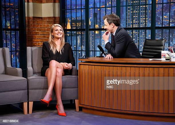 Actress Eliza Coupe during an interview with host Seth Meyers on December 8 2014