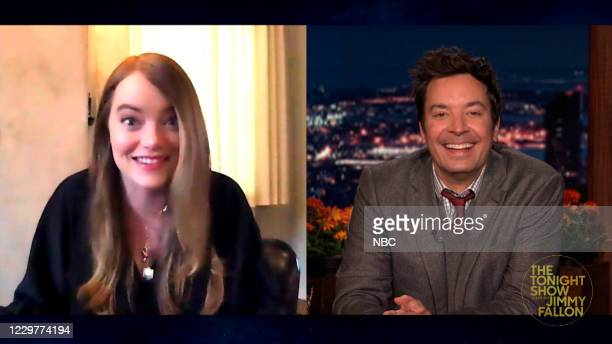 Episode 1360A -- Pictured in this screengrab: Actress Emma Stone during an interview with host Jimmy Fallon on November 23, 2020 --