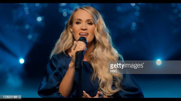 Episode 1367A -- Pictured in this screengrab: Musical guest Carrie Underwood performs on December 3, 2020 --