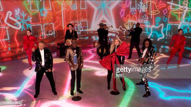 Episode 1371A -- Pictured in this screengrab: Musical guest Megan Trainor ft. Earth, Wind, and Fire perform on December 9, 2020 --