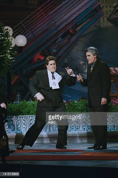 LENO Episode 1373 Air Date Pictured A Jay Leno lookalike onstage with host Jay Leno on May 4 1998 Photo by NBCU Photo Bank
