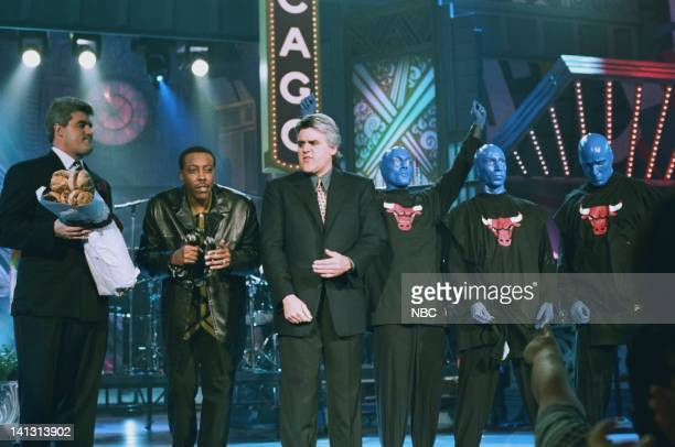 LENO Episode 1373 Air Date Pictured A Jay Leno lookalike talk show host Arsenio Hall host Jay Leno performance artists Blue Man Group onstage May 4...
