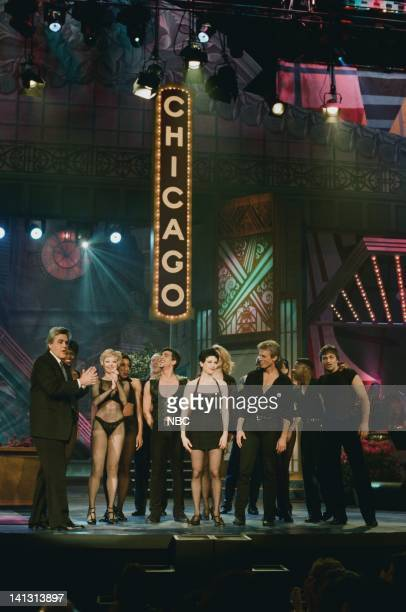 Episode 1373 -- Air Date -- Pictured: Host Jay Leno with the cast of the musical 'Chicago' onstage May 4, 1998 -- Photo by: NBCU Photo Bank