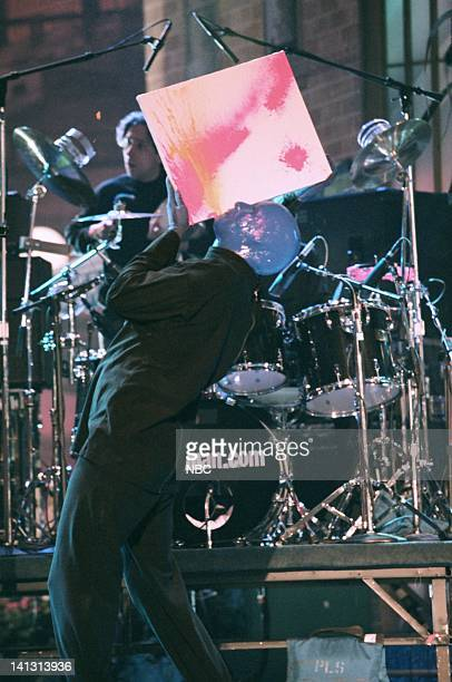 LENO Episode 1373 Air Date Pictured Performance artists Blue Man Group perform on May 4 1998 Photo by NBCU Photo Bank