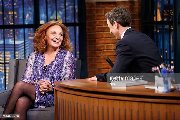 Episode 139 -- Pictured: Fashion designer Diane von Fürstenberg during an interview with host Seth Meyers on December 11, 2014 --