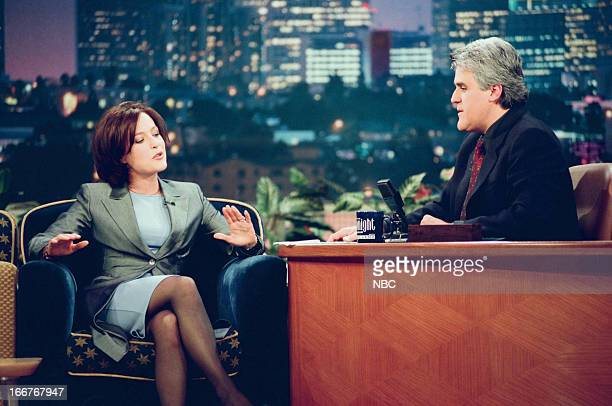 Actress Gillian Anderson host Jay Leno during an interview on June 10 1998