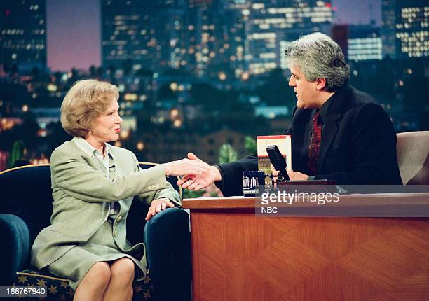 Former First Lady Rosalynn Carter host Jay Leno during an interview on June 10 1998