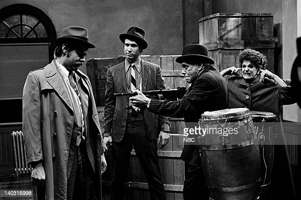 LIVE Episode 14 Air Date Pictured Dan Aykroyd as Eliot Ness Chevy Chase as Andrew Sidekick Desi Arnaz as Raoul Nitti Gilda Radner as Lucy during The...