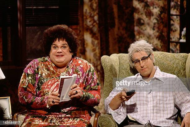 LIVE Episode 14 Air Date Pictured Chris Farley as Beverly Gelfand Adam Sandler as Hank Gelfand during the 'Zagat's' skit on February 25 1995