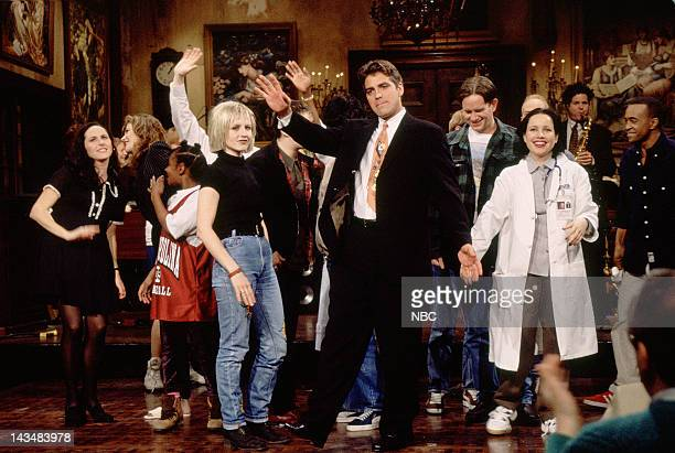 LIVE Episode 14 Air Date Pictured Molly Shannon Dolores O'Riordan of the Cranberries host George Cloony Janeane Garofalo on February 25 1995