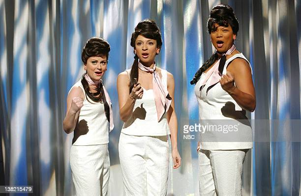 LIVE Episode 14 Aired Pictured Amy Poehler as Margey Maya Rudolph as Darcelle Chambers Queen Latifah as Barbara during Where are they Now skit