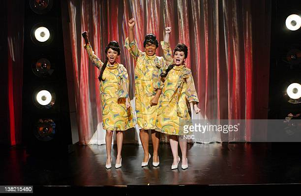 LIVE Episode 14 Aired Pictured Maya Rudolph as Darcelle Chambers Queen Latifah as Barbara Amy Poehler as Margey during Where are they Now skit