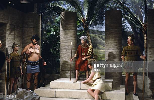 Bill Murray as Hercules Dana Carvey as King Laetese Nora Dunn as Helena during the 'Il Returno De Hercules' skit on March 21 1987 Photo by NBC/NBCU...